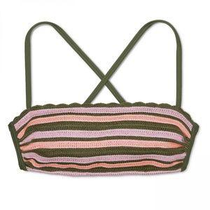 NWT Xhilaration Crochet Bikini Top XS Olive